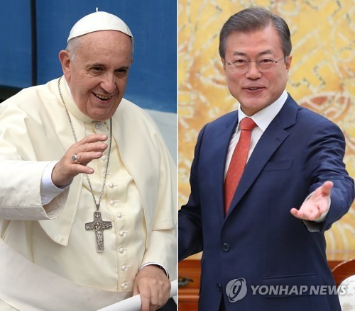 South Korean President Moon Jae-in (right) is set to meet with Pope Francis during his nine-day trip to Europe. (Yonhap)