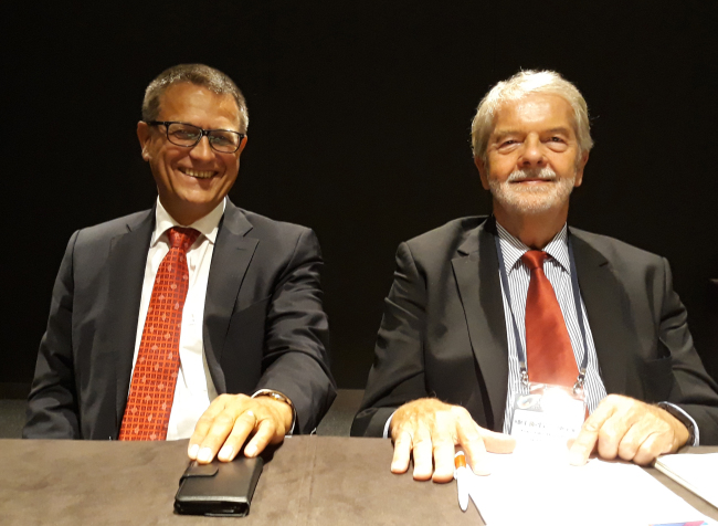 German scientists and climate experts Peter Hennicke (right) and Detlef Stolten speak to The Korea Herald at the Korea Energy Transition Conference at Coex in Seoul on Oct. 5. (Joel Lee/The Korea Herald)