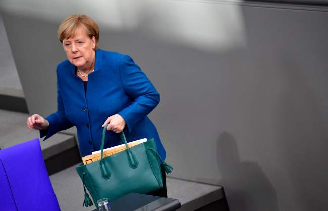 German chancellor Angela Merkel arrives for a session of the German parliament ahead of an EU summit focused on Brexit, on October 17, 2018 in Berlin. (AFP)