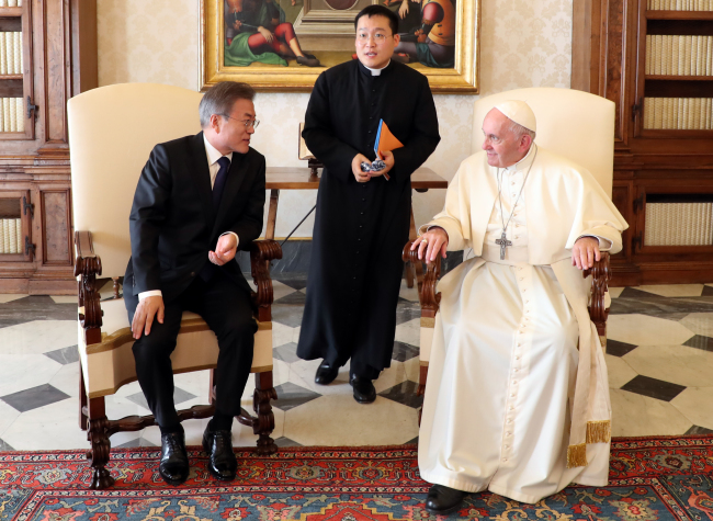 South Korea`s President Moon Jae-in holds talk with Pope Francis. Yonhap