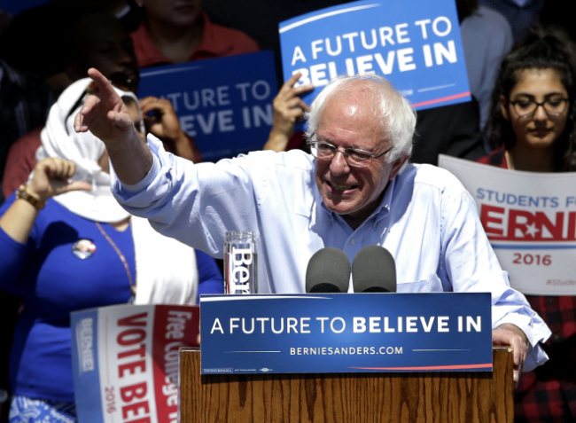 US Sen. Bernie Sanders during his 2016 presidential campaign. (AP-Yonhap)