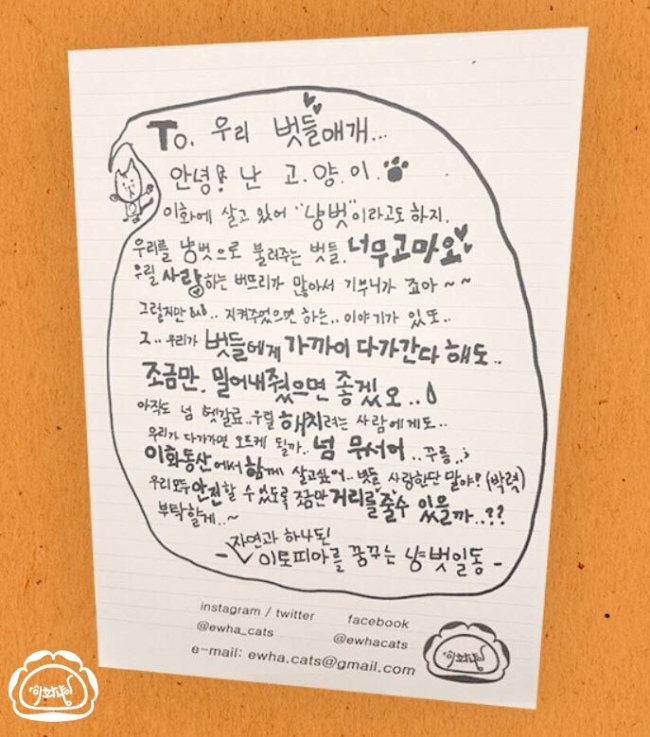 Poster made by Ewha Cats to tell students to keep distance from the stray cats (Ewha Cats)
