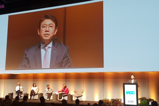 Kim Tae-eung, the standing commissioner of Korea's ACRC, gives a speech during the closing ceremony of the 18th IACC in Copenhagen, Denmark, Thursday. (Anti-Corruption and Civil Rights Commission)