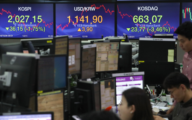 The electronic display boards in KEB Hana Bank's dealing room on Friday show the closing price for Kospi and Kosdaq. (Yonhap)