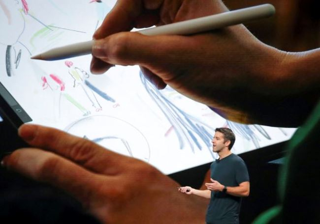 John Ternus, Apple`s V.P. of Hardware Engineering, discuss the latest development for the iPad Pro during an event to announce new products Tuesday Oct. 30, in the Brooklyn borough of New York. (AP)