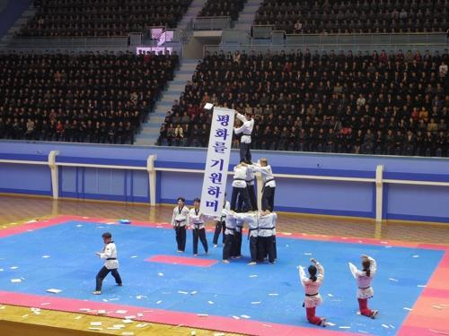 World Taekwondo`s all-South Korean taekwondo demonstration team performs at Taekwondo Hall in Pyongyang on Oct. 31, 2018. (Yonhap)