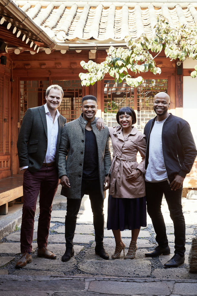 From left: Antony Lawrence, Calvyn Grandling, Josslynn Hlenti and Mthokozisi Emkay Khanyile pose for a photo before their interview Wednesday in Seoul. (Clip Service)