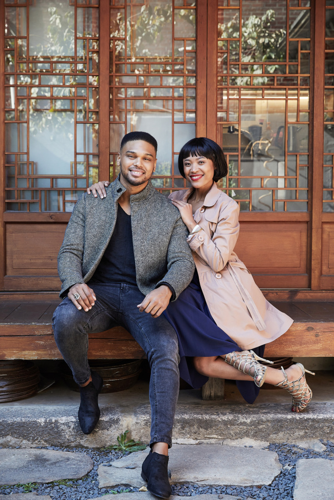 Calvyn Grandling (left) and Josslynn Hlenti pose for a photo before their interview Wednesday in Seoul. (Clip Service)