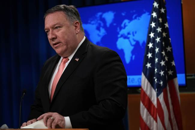 US Secretary of State Mike Pompeo speaks to members of the media in the briefing room of the State Department Oct. 23. (AFP)