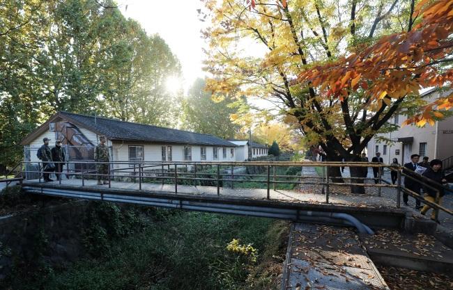 Mancho Stream, which flows through the Yongsan Garrison, is seen Friday. (Yonhap)