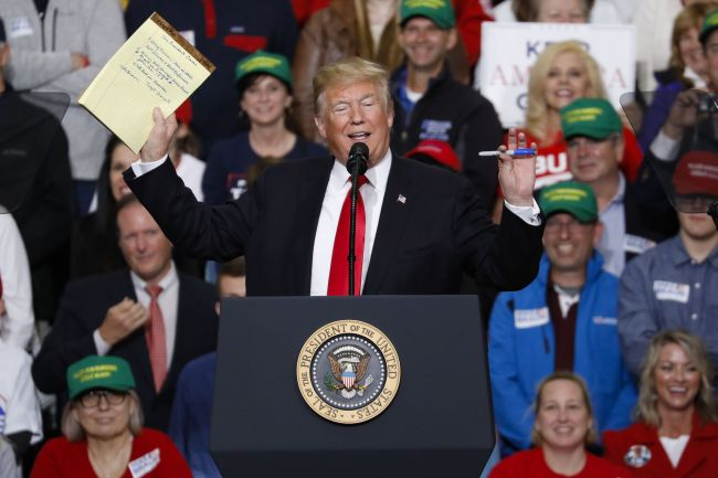 US President Donald Trump speaks during a campaign rally on Friday at Southport High School in Indianapolis, Indiana. President Trump is campaigning across the Midwest supporting Republican candidates in the upcoming midterm elections. (AFP-Yonhap)