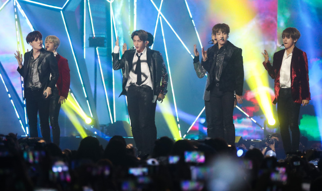 BTS performs at the 2018 MGA show at Incheon's Namdong Gymnasium on Tuesday. (Yonhap)