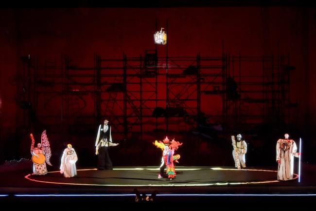 "Singers perform during a rehearsal of Achim Freyer's ""Das Rheingold"" on Monday at the Seoul Arts Center. (World Art Opera)"