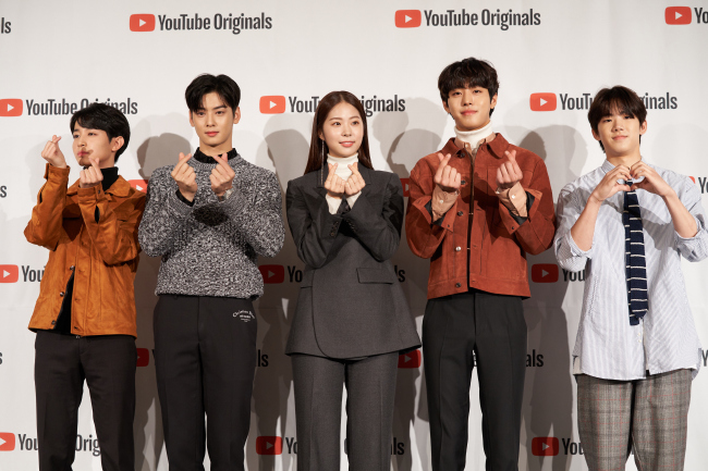 """The cast of Youtube original series """"Top Management"""" pose at a press conference in centralSeoul on Oct. 29. (Studio 329)"""