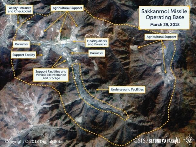 Satellite imagery of Sakkanmol missile operating base. Yonhap.
