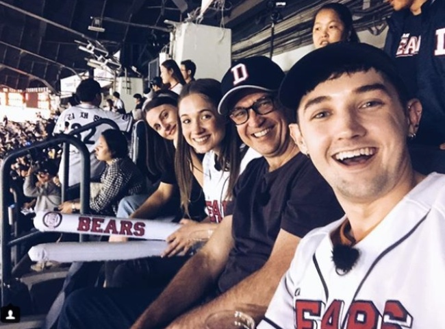 Blair Williams poses with his father and sisters during a baseball game at Jamsil Baseball Stadium. (Blair Williams' Instagram)
