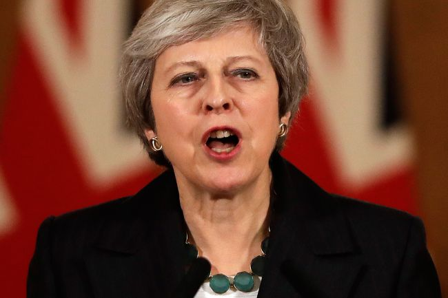 Britain`s Prime Minister Theresa May speaks during a press conference inside 10 Downing Street in central London on November 15, 2018. (AFP)