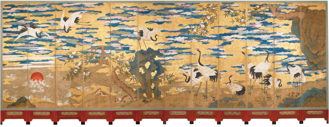 """""""Cranes and Heavenly Peaches,"""" exhibited at the MMCA's Deoksugung branch(Yonhap)"""