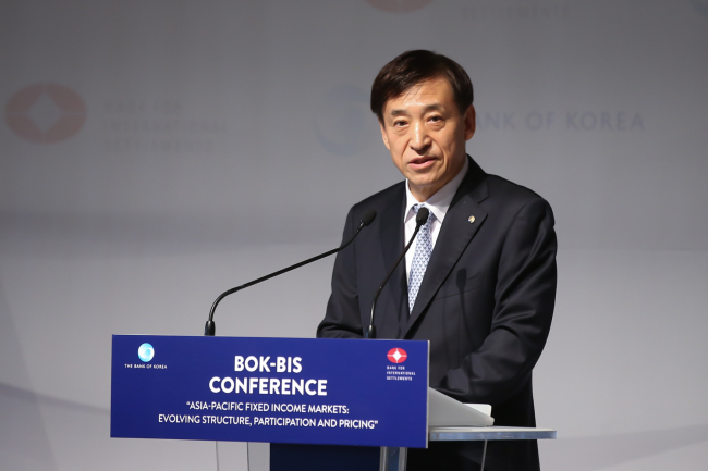 Bank of Korea Gov. Lee Ju-yeol delivers an opening speech at a BOK-BIS joint forum held Monday at Seoul's Plaza Hotel. (Bank of Korea)