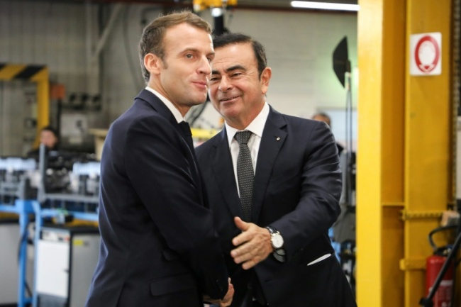 French President Emmanuel Macron, seen here with Ghosn at a Renault factory visit this month, said his government would be `extremely vigilant` about the automaker`s stability (AFP)