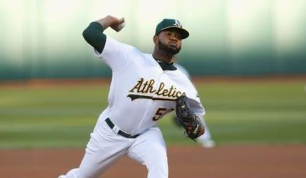 In this Getty Images file photo from Sept. 23, 2017, Raul Alcantara, then with the Oakland Athletics, pitches against the Texas Rangers during the first inning of a Major League Baseball regular season game at Oakland Alameda Coliseum in Oakland, California. Alcantara signed with the South Korean club KT Wiz on Nov. 19, 2018. (Yonhap)