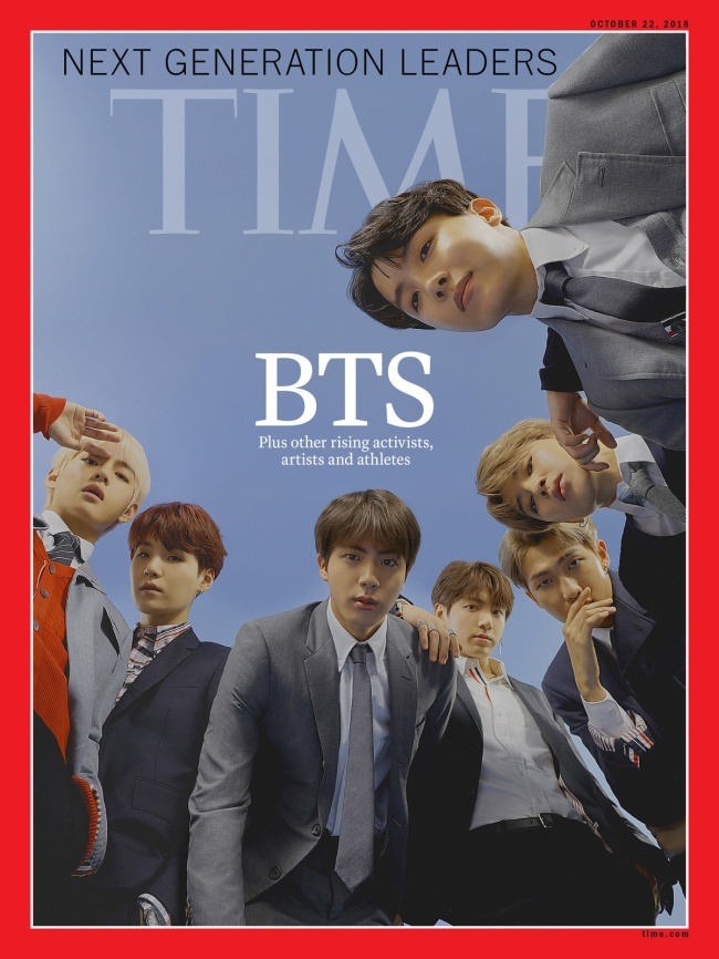 BTS on the cover of Time's Oct. 22 global edition (Time)