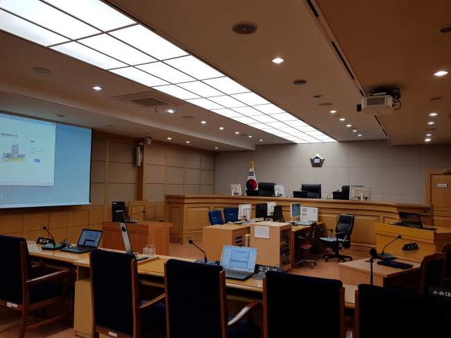 A courtroom in the Patent Court of Korea. (Bae Hyun-jung/The Korea Herald)