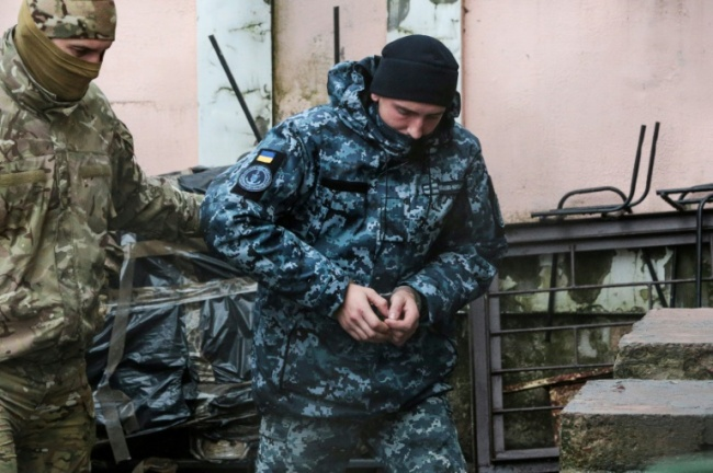A court in Simferopol, the main city in Russian-annexed Crimea, ordered nine of the sailors to be held in pre-trial detention for two months. More are to appear before the court on Wednesday (AFP)