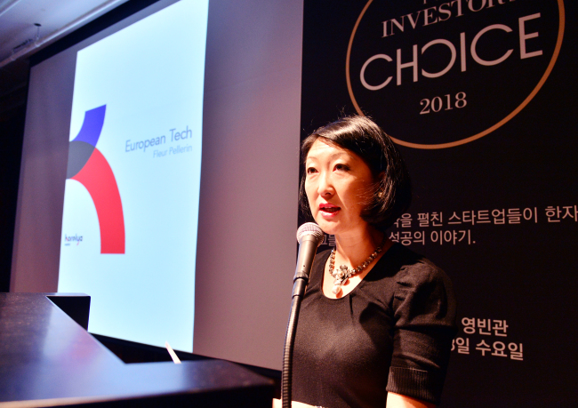 Fleur Pellerin, co-founder and managing partner of venture capital firm Korelya Capital, delivers a keynote speech at the first The Investor's Choice, a startup conference, at Hotel Shilla in Seoul on Wednesday. Park Hyun-koo/The Korea Herald