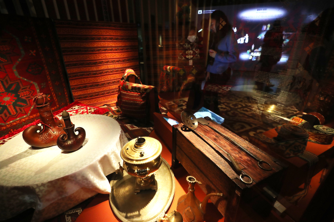 "The interior of a yurt is shown at the exhibition ""Kazakhstan-The Cradleland of the 'Golden Man.'"" (Yonhap)"