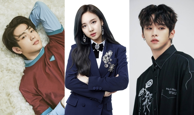From left, Jin-young of GOT7, Na-yeon of Twice, Lee Know of Stray Kids (JYP Entertainment)