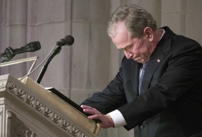 Former President George W. Bush becomes emotional as he speaks at the State Funeral for his father, former President George H.W. Bush, at the National Cathedral, Wednesday, Dec. 5, 2018, in Washington. (AP)