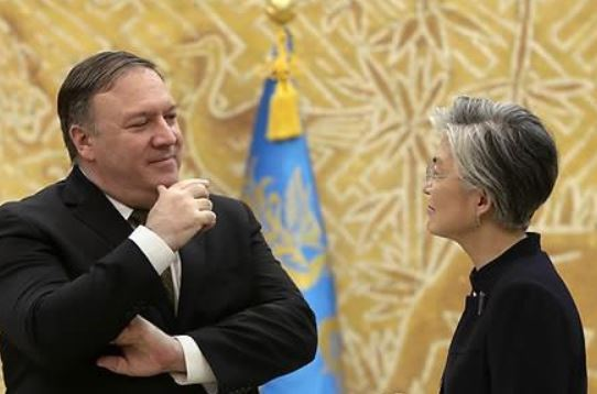 US Secretary of State Mike Pompeo and South Korean Foreign Minister Kang Kyung-wha (AP-Yonhap)