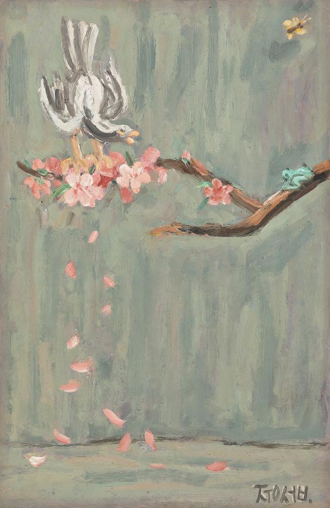 "Lee Jung-seob's ""Bird Perching on Peach Blossom"" (Seoul Auction)"