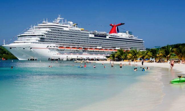 A cruise ship is anchored at Mahogany Bay in Honduras. (Aqua Marine)