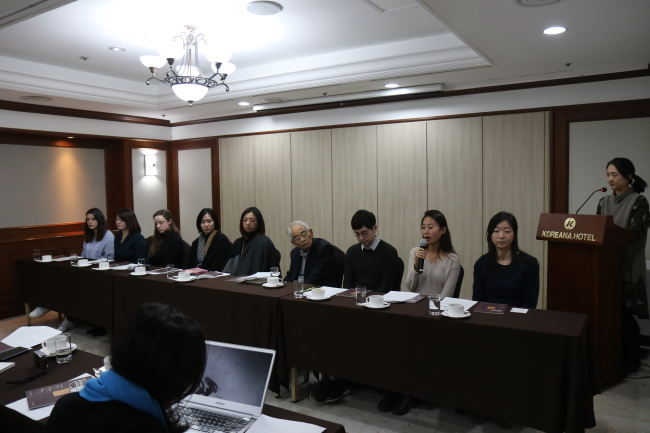 Recipients of LTI Korea Translation Awards speak during a press conference held Monday at Koreana Hotel in central Seoul. (LTI Korea)
