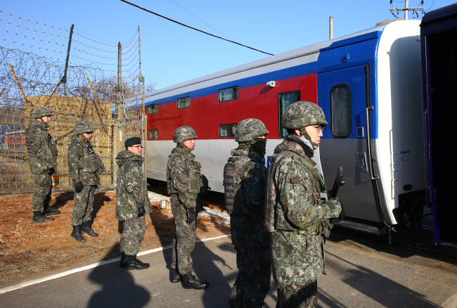 A South Korean train for joint inspection of cross-border railways enter the demilitarized zone bisecting the two Koreas on Nov. 30. (Joint Press Corps)