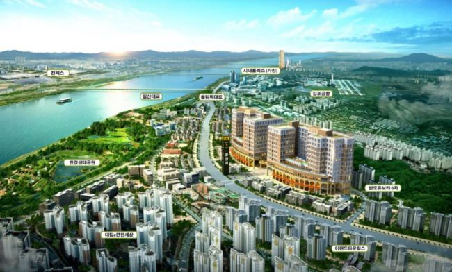 A bird's eye view of Unyang-dong in Gimpo Hangang new town, Gyeonggi Province (real estate agent office)