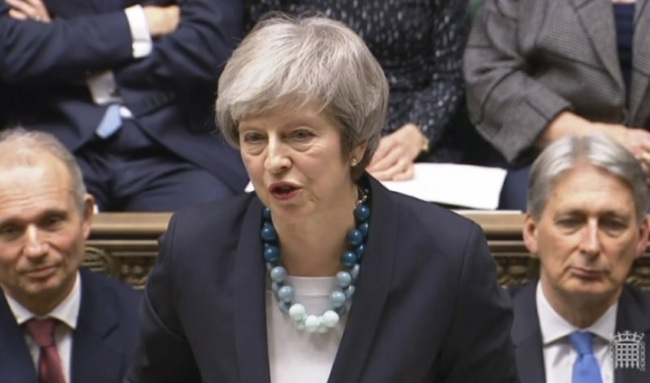 In this grab taken from video, Britain`s Prime Minister Theresa May makes a statement in the House of Commons, in London, Monday, Dec. 10, 2018. May has postponed Parliament`s vote on her European Union divorce deal to avoid a shattering defeat _ a decision that throws her Brexit plans into chaos. (PA-AP)