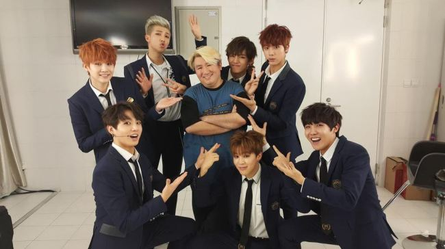 This photo of BTS and Bang Si-hyuk was posted on Bang`s Twitter account on Dec. 29, 2014.