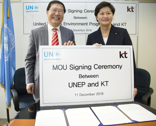 KT and UNEP officials pose after an MOU signing ceremony in Nairobi on Tuesday. (KT)