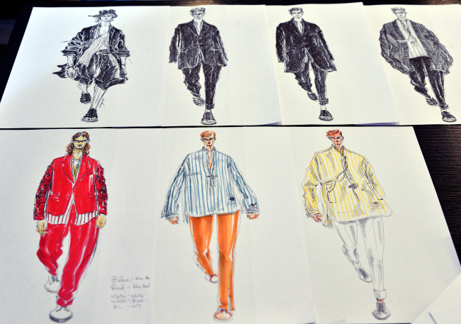 Sketches of Song's creations (Park Hyun-koo/The Korea Herald)