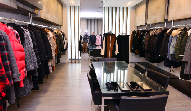 Songzio Homme creations are displayed at Song Zio's office in Seongsu-dong, Seoul. (Park Hyun-koo / The Korea Herald)