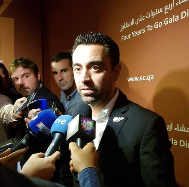 Former FC Barcelona football player Xavi Hernandez, who is now with Qatari side Al Sadd, speaks to reporters during the design launch event for Lusail Stadium, the main venue of the 2022 FIFA World Cup in Qatar, in Doha on Dec. 15, 2018. (Yonhap)