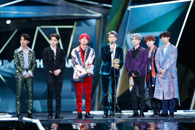 BTS after winning `Album of the Year` at 2018 MAMA in Hong Kong (CJ ENM)