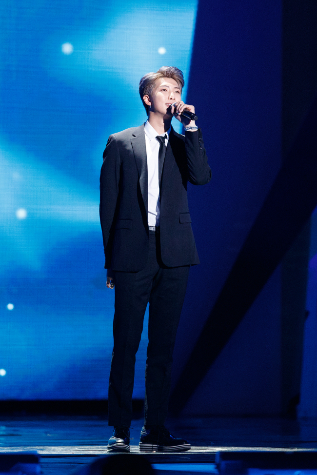 Leader RM speaks on behalf of the group at MAMA in Hong Kong on Friday (CJ ENM)