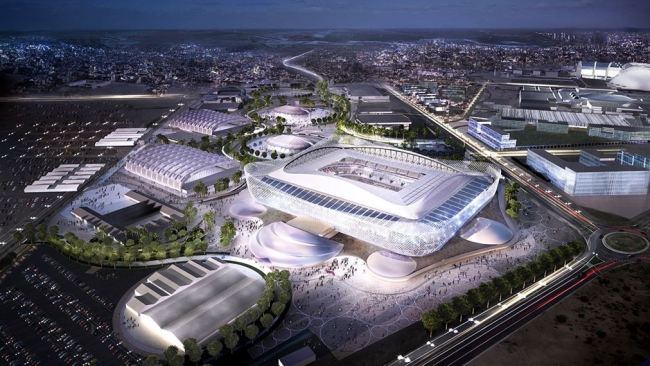 This computer generated image provided by Qatar`s Supreme Committee for Delivery & Legacy shows what Al Rayyan Stadium and its auxiliary facilities will look like for the 2022 FIFA World Cup. (Yonhap)
