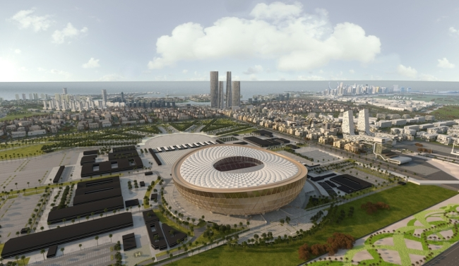 This computer generated image provided by Qatar`s Supreme Committee for Delivery & Legacy shows what Lusail Stadium and its auxiliary facilities in Lusail City will look like for the 2022 FIFA World Cup. (Yonhap)