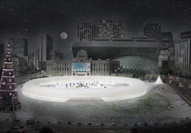A bird's-eye view of the ice rink at Seoul Square (Seoul Metropolitan Government)
