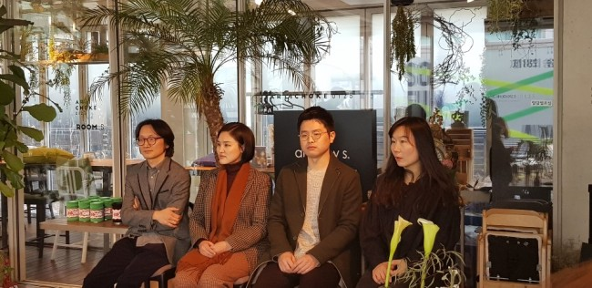 From left: Kim Joon, Park Kyung-ryul, Lee Ue-sung and Chun Myung-eun attend a press conference held at SongEun Art Space on Friday in Seoul. (Shim Woo-hyun/The Korea Herald)